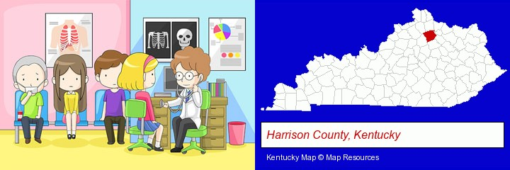a clinic, showing a doctor and four patients; Harrison County, Kentucky highlighted in red on a map