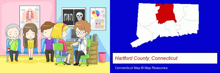 a clinic, showing a doctor and four patients; Hartford County, Connecticut highlighted in red on a map