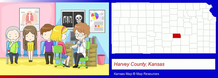 a clinic, showing a doctor and four patients; Harvey County, Kansas highlighted in red on a map