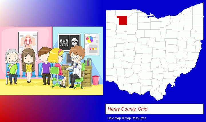 a clinic, showing a doctor and four patients; Henry County, Ohio highlighted in red on a map