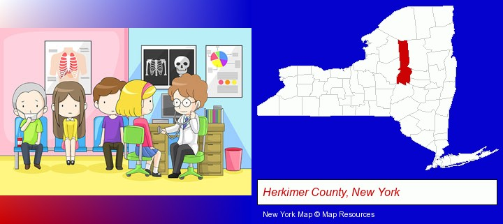 a clinic, showing a doctor and four patients; Herkimer County, New York highlighted in red on a map