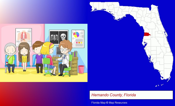 a clinic, showing a doctor and four patients; Hernando County, Florida highlighted in red on a map