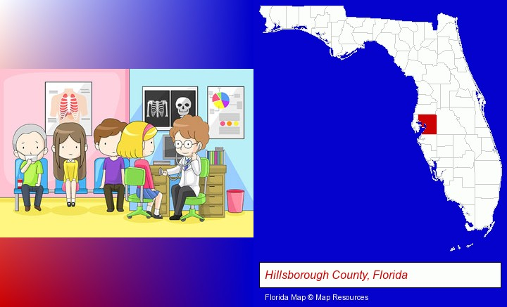 a clinic, showing a doctor and four patients; Hillsborough County, Florida highlighted in red on a map
