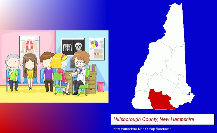 a clinic, showing a doctor and four patients; Hillsborough County, New Hampshire highlighted in red on a map