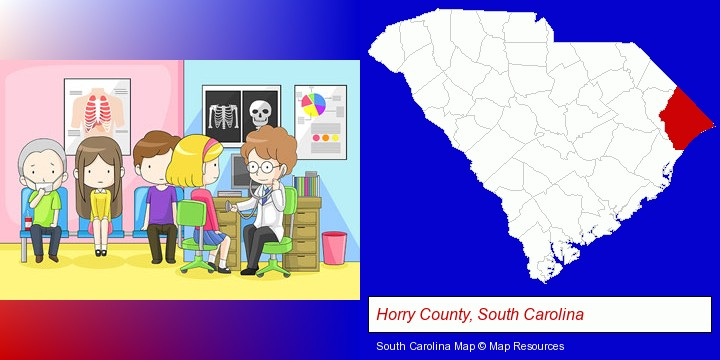 a clinic, showing a doctor and four patients; Horry County, South Carolina highlighted in red on a map