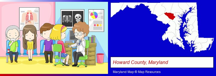 a clinic, showing a doctor and four patients; Howard County, Maryland highlighted in red on a map
