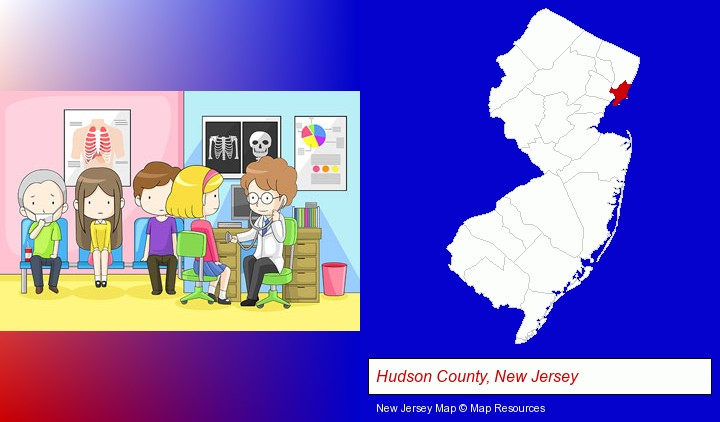 a clinic, showing a doctor and four patients; Hudson County, New Jersey highlighted in red on a map