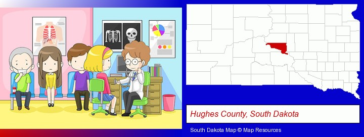 a clinic, showing a doctor and four patients; Hughes County, South Dakota highlighted in red on a map