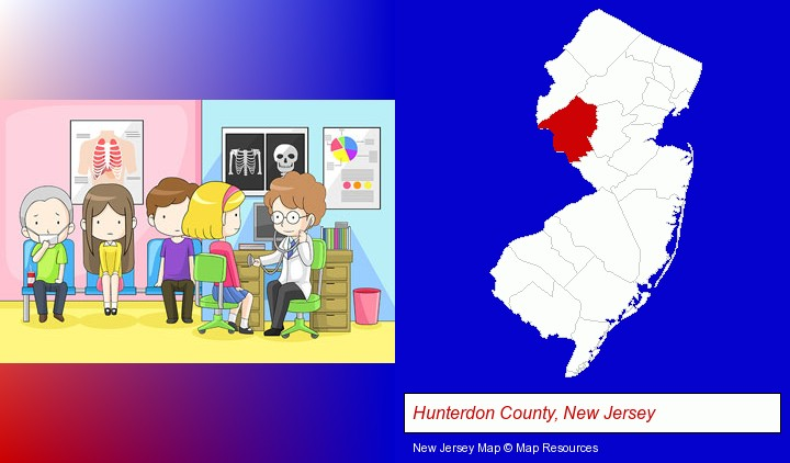 a clinic, showing a doctor and four patients; Hunterdon County, New Jersey highlighted in red on a map