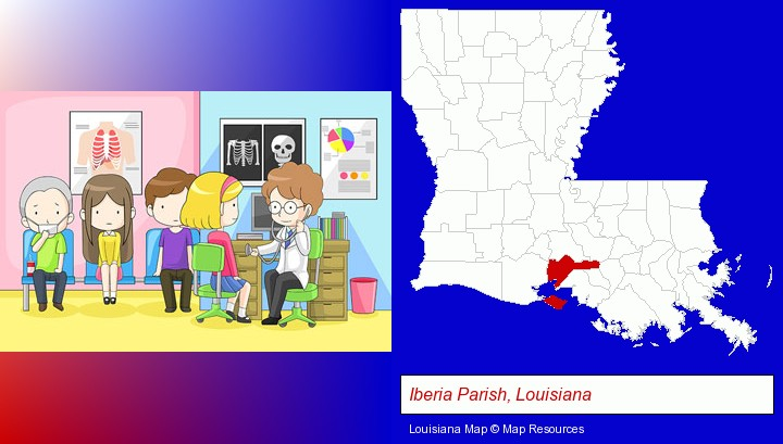 a clinic, showing a doctor and four patients; Iberia Parish, Louisiana highlighted in red on a map