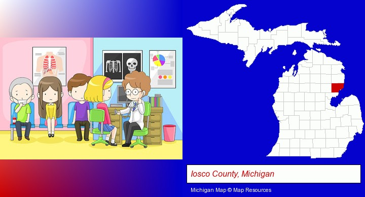 a clinic, showing a doctor and four patients; Iosco County, Michigan highlighted in red on a map