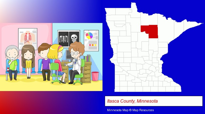 a clinic, showing a doctor and four patients; Itasca County, Minnesota highlighted in red on a map