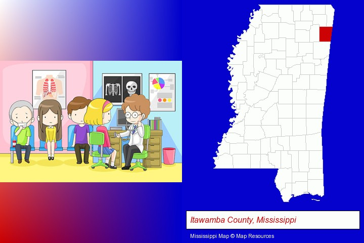a clinic, showing a doctor and four patients; Itawamba County, Mississippi highlighted in red on a map