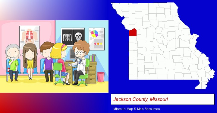 a clinic, showing a doctor and four patients; Jackson County, Missouri highlighted in red on a map