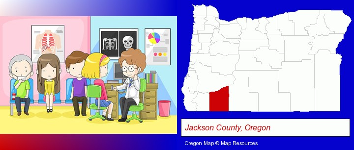 a clinic, showing a doctor and four patients; Jackson County, Oregon highlighted in red on a map