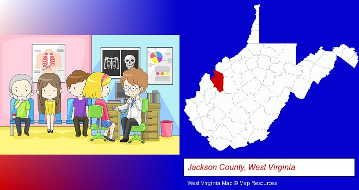a clinic, showing a doctor and four patients; Jackson County, West Virginia highlighted in red on a map