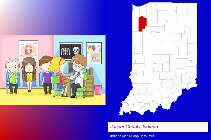 a clinic, showing a doctor and four patients; Jasper County, Indiana highlighted in red on a map