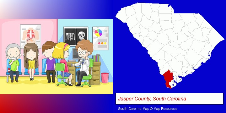 a clinic, showing a doctor and four patients; Jasper County, South Carolina highlighted in red on a map