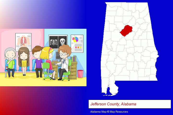a clinic, showing a doctor and four patients; Jefferson County, Alabama highlighted in red on a map