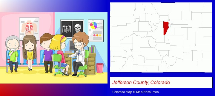 a clinic, showing a doctor and four patients; Jefferson County, Colorado highlighted in red on a map