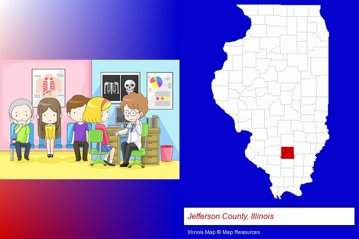 a clinic, showing a doctor and four patients; Jefferson County, Illinois highlighted in red on a map