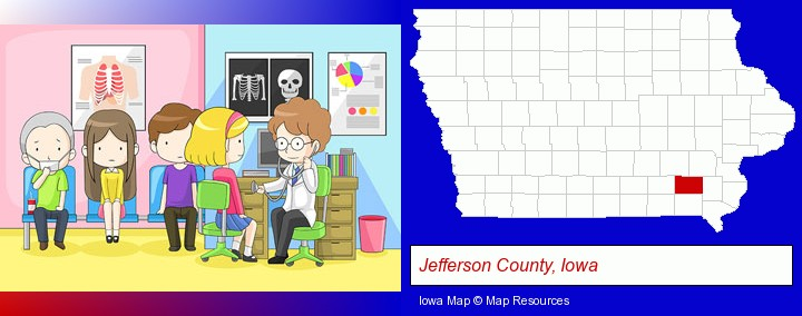 a clinic, showing a doctor and four patients; Jefferson County, Iowa highlighted in red on a map