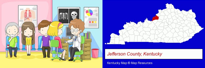 a clinic, showing a doctor and four patients; Jefferson County, Kentucky highlighted in red on a map