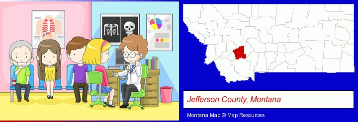 a clinic, showing a doctor and four patients; Jefferson County, Montana highlighted in red on a map