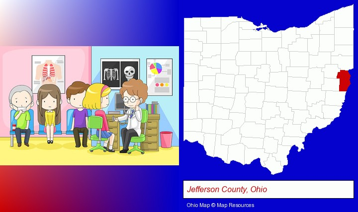 a clinic, showing a doctor and four patients; Jefferson County, Ohio highlighted in red on a map