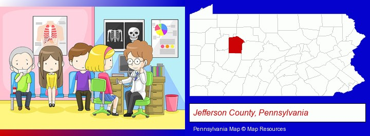 a clinic, showing a doctor and four patients; Jefferson County, Pennsylvania highlighted in red on a map