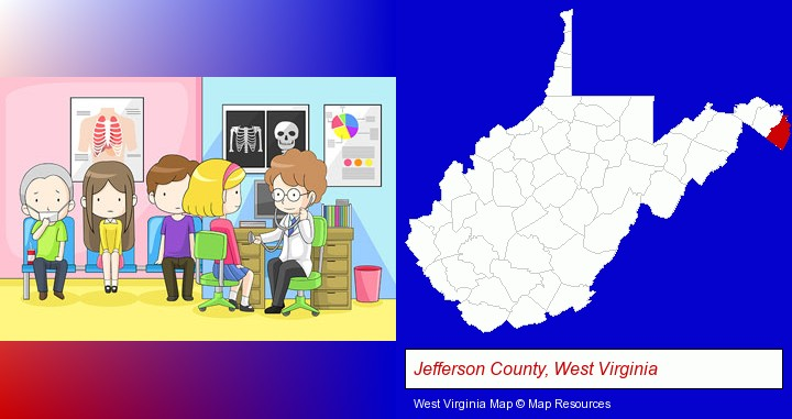 a clinic, showing a doctor and four patients; Jefferson County, West Virginia highlighted in red on a map