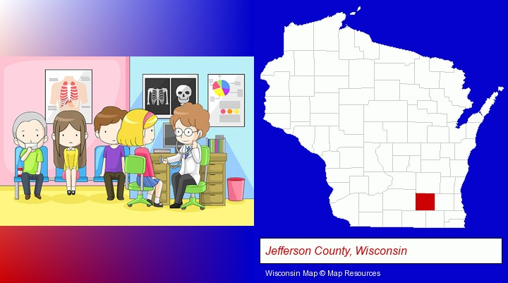 a clinic, showing a doctor and four patients; Jefferson County, Wisconsin highlighted in red on a map