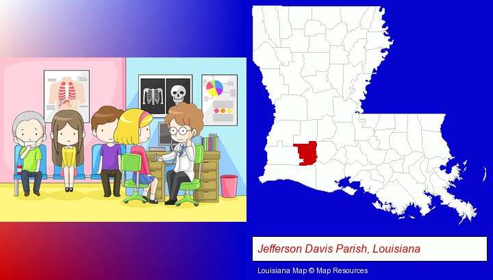 a clinic, showing a doctor and four patients; Jefferson Davis Parish, Louisiana highlighted in red on a map