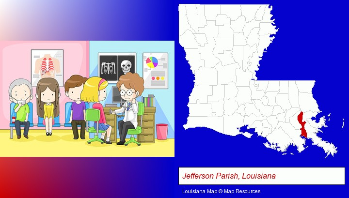 a clinic, showing a doctor and four patients; Jefferson Parish, Louisiana highlighted in red on a map