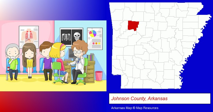 a clinic, showing a doctor and four patients; Johnson County, Arkansas highlighted in red on a map