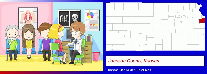 a clinic, showing a doctor and four patients; Johnson County, Kansas highlighted in red on a map