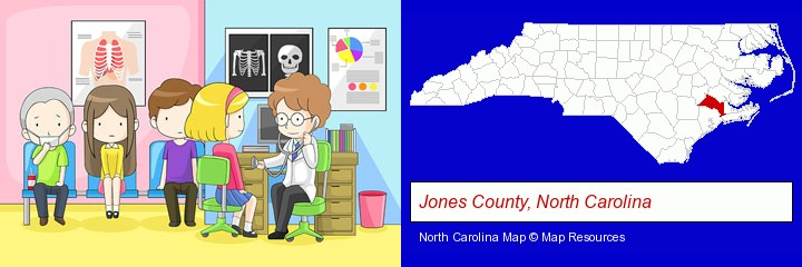 a clinic, showing a doctor and four patients; Jones County, North Carolina highlighted in red on a map