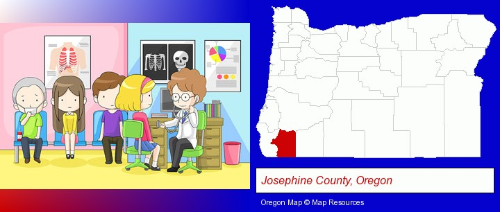 a clinic, showing a doctor and four patients; Josephine County, Oregon highlighted in red on a map