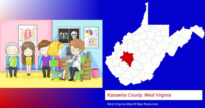 a clinic, showing a doctor and four patients; Kanawha County, West Virginia highlighted in red on a map