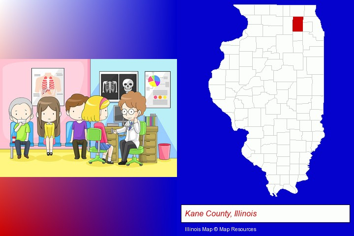 a clinic, showing a doctor and four patients; Kane County, Illinois highlighted in red on a map