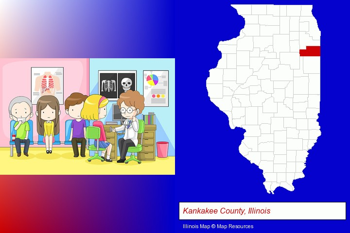a clinic, showing a doctor and four patients; Kankakee County, Illinois highlighted in red on a map