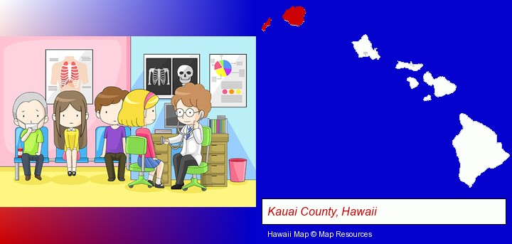 a clinic, showing a doctor and four patients; Kauai County, Hawaii highlighted in red on a map