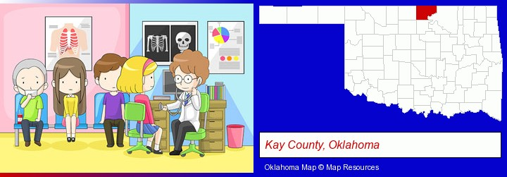 a clinic, showing a doctor and four patients; Kay County, Oklahoma highlighted in red on a map