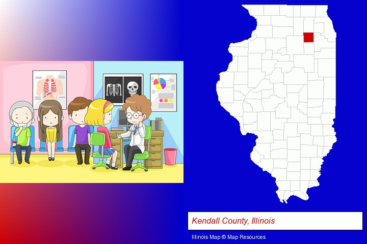 a clinic, showing a doctor and four patients; Kendall County, Illinois highlighted in red on a map
