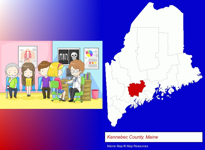 a clinic, showing a doctor and four patients; Kennebec County, Maine highlighted in red on a map