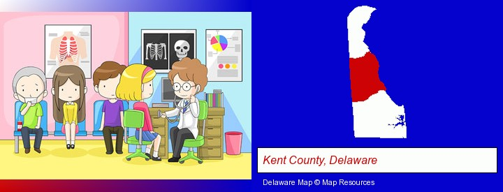 a clinic, showing a doctor and four patients; Kent County, Delaware highlighted in red on a map