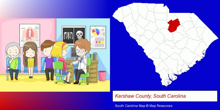 a clinic, showing a doctor and four patients; Kershaw County, South Carolina highlighted in red on a map