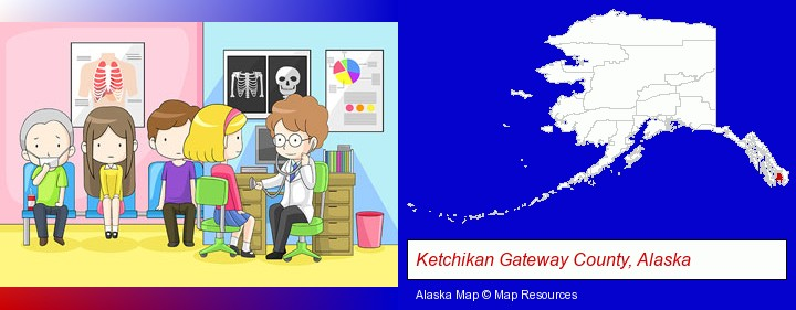 a clinic, showing a doctor and four patients; Ketchikan Gateway County, Alaska highlighted in red on a map