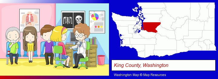a clinic, showing a doctor and four patients; King County, Washington highlighted in red on a map