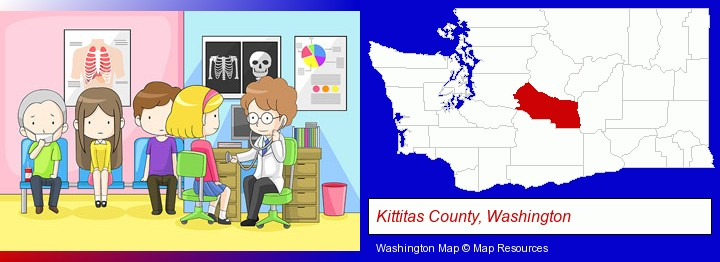 a clinic, showing a doctor and four patients; Kittitas County, Washington highlighted in red on a map